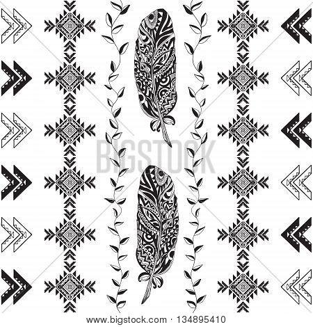 Tribal Pattern Vector Illustration . Seamless Monochrome Background .