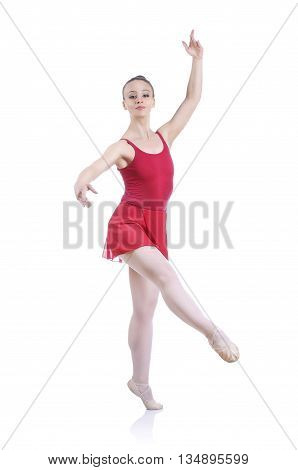 Beautiful Artistic Female Ballerina Working Out, Performing Art Ballet Element
