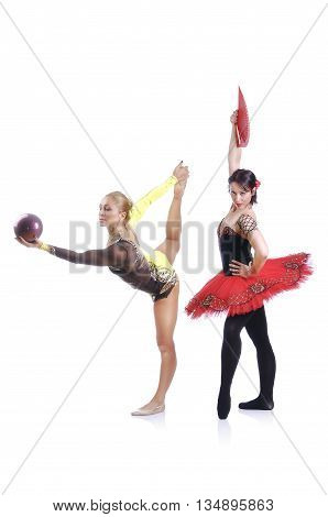 Portrait Of Beautiful Rhytmic Gymnast And Ballerina Performing