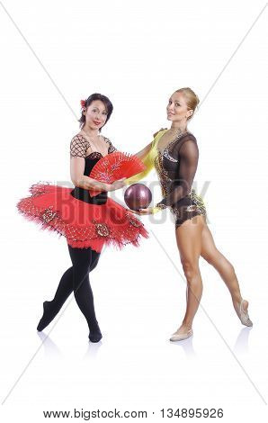 Portrait Of Beautiful Rhytmic Gymnast And Ballerina Posing