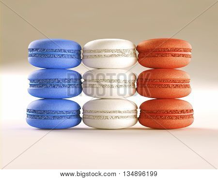 3D illustration. French macaroons in layout and colors of the French flag. Clipping path included.