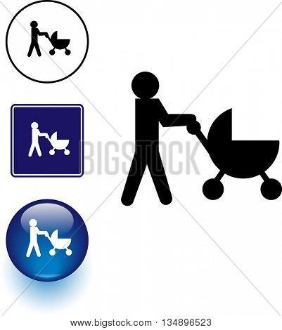 baby stroller symbol sign and button