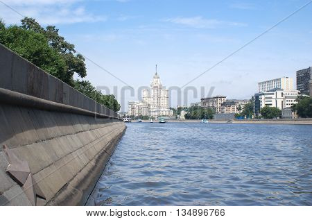 Moskva river and embankment on sunny  summer day