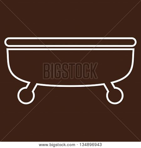 Bathtub glyph icon. Style is linear flat icon symbol, white color, brown background.