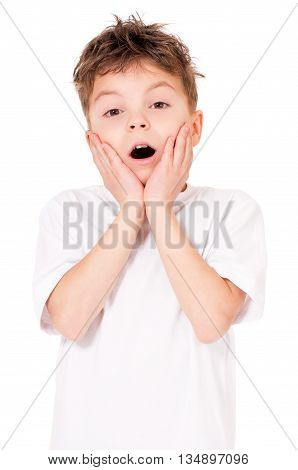 Portrait of shocked teen boy, isolated on white background