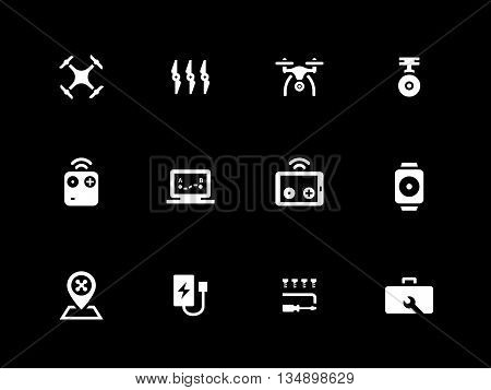 Hexacopter and quadcopter icons on black background. Vector illustration.