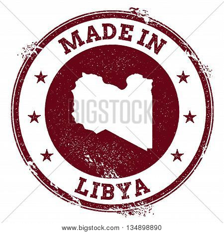 Libya Vector Seal. Vintage Country Map Stamp. Grunge Rubber Stamp With Made In Libya Text And Map, V