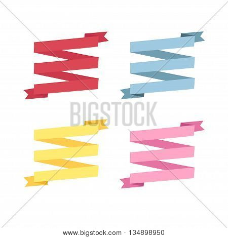 set design four different color retro ribbons