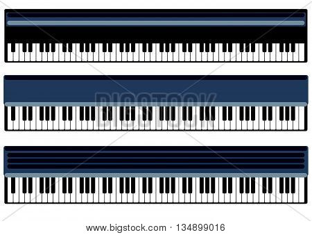 keys of piano vector object. Black piano