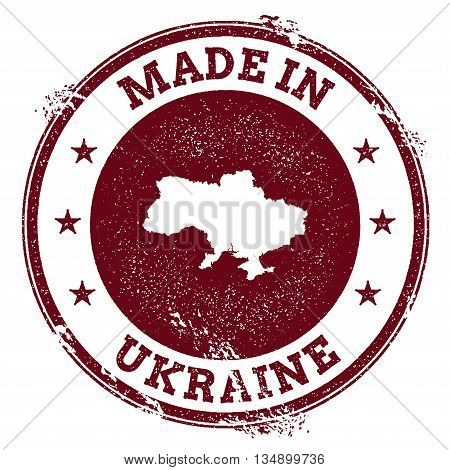 Ukraine Vector Seal. Vintage Country Map Stamp. Grunge Rubber Stamp With Made In Ukraine Text And Ma