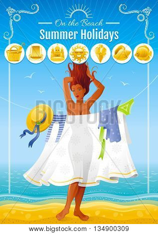 Summer travel beach background with beautiful tan sexy girl. Invitation design for summer beach party with icon set