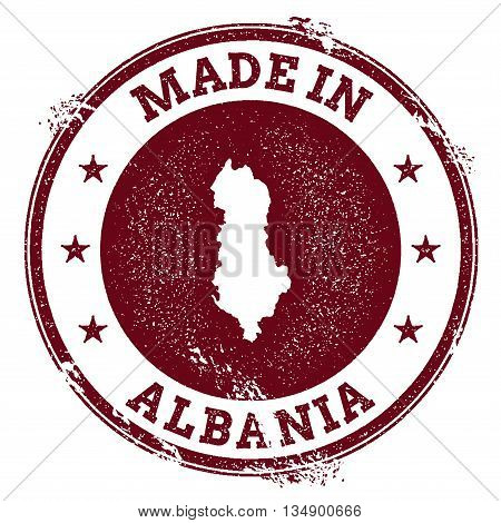 Albania Vector Seal. Vintage Country Map Stamp. Grunge Rubber Stamp With Made In Albania Text And Ma