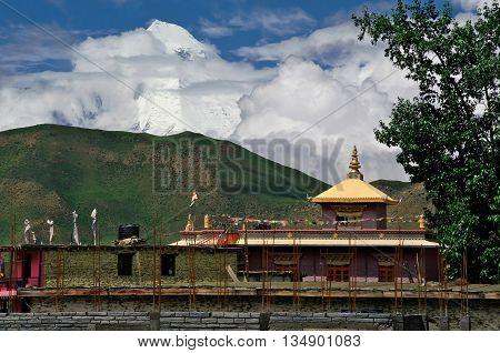 Buddhist monastery near Muktinath, in Nepal Himalaya