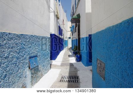 Streets of the historic town of Rabat, in Morocco.
