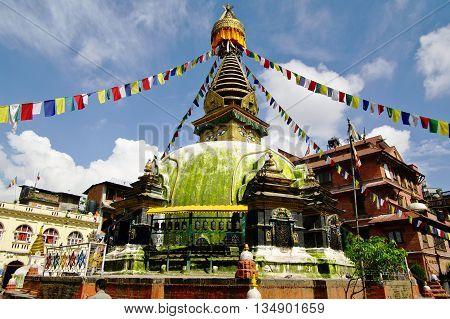 Stupa in Kathmandu, typical Buddhist religious monument