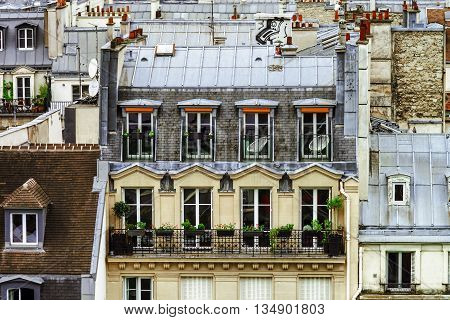 Paris Roofs Panoramic Overview At Summer Day
