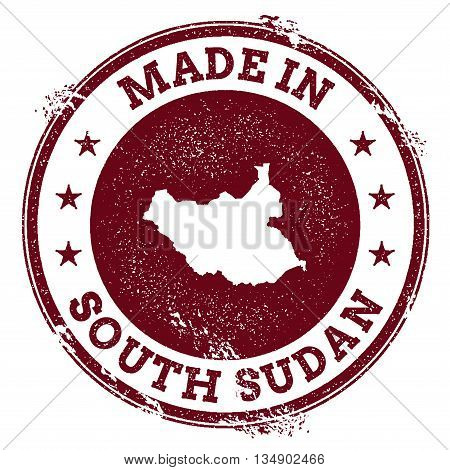South Sudan Vector Seal. Vintage Country Map Stamp. Grunge Rubber Stamp With Made In South Sudan Tex
