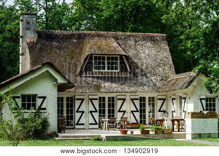 Typical French Countryside House With Thatch Roof
