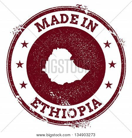 Ethiopia Vector Seal. Vintage Country Map Stamp. Grunge Rubber Stamp With Made In Ethiopia Text And