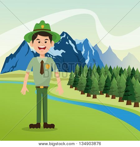 landscape of mountains, river, sky and pine trees with forest ranger illustration