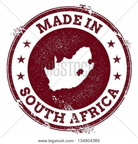 South Africa Vector Seal. Vintage Country Map Stamp. Grunge Rubber Stamp With Made In South Africa T