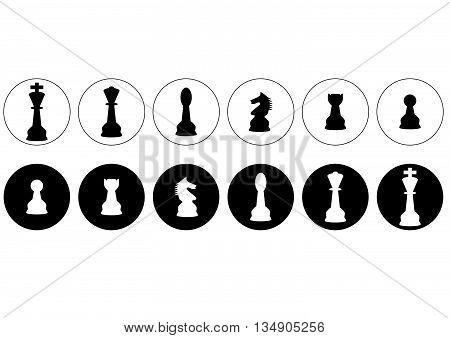 vector silhouettes of a set of standard chess pieces icons