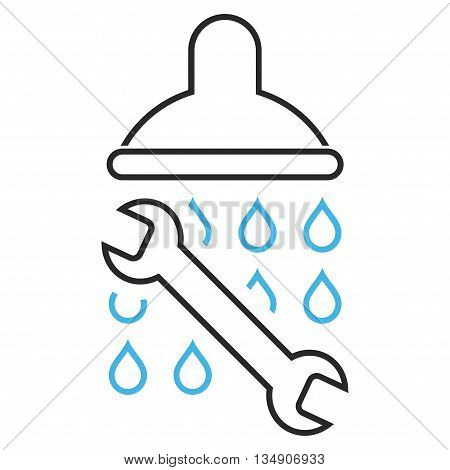 Shower Plumbing glyph icon. Style is contour bicolor flat icon symbol, blue and gray colors, white background.