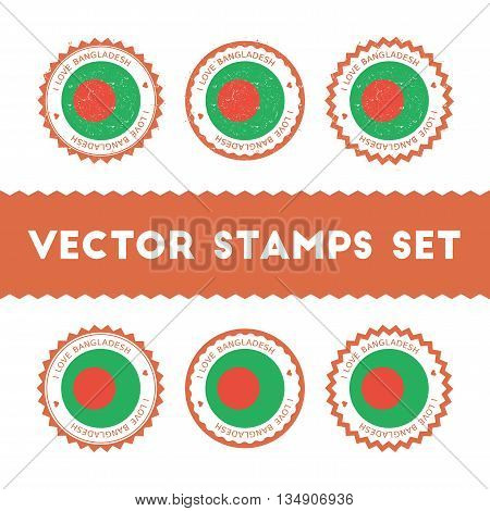 I Love Bangladesh Vector Stamps Set. Retro Patriotic Country Flag Badges. National Flags Vintage Rou
