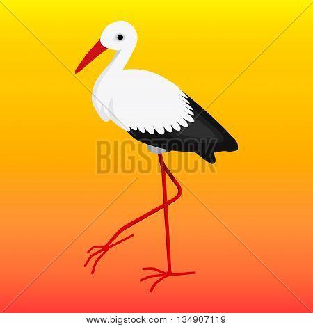 Vector white stork on orange red background
