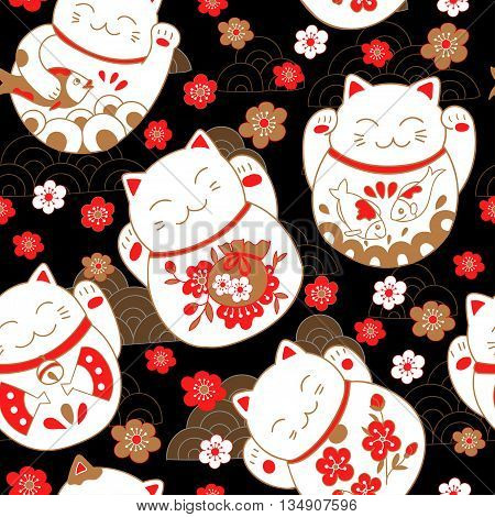 Bright oriental pattern with cats maneki neko, lucky charms, and sakura flowers. Vector illustration.