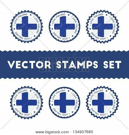 I Love Finland Vector Stamps Set. Retro Patriotic Country Flag Badges. National Flags Vintage Round