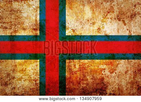 Faroe Islands flag on vintage paper  texture