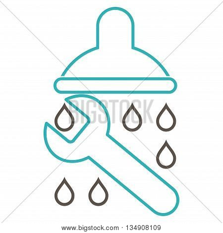 Shower Plumbing glyph icon. Style is outline bicolor flat icon symbol, grey and cyan colors, white background.