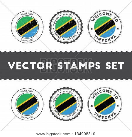 Tanzanian Flag Rubber Stamps Set. National Flags Grunge Stamps. Country Round Badges Collection.