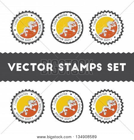 I Love Bhutan Vector Stamps Set. Retro Patriotic Country Flag Badges. National Flags Vintage Round S