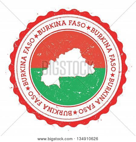 Burkina Faso Map And Flag In Vintage Rubber Stamp Of State Colours. Grungy Travel Stamp With Map And