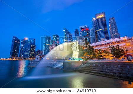 Singapore City Skyline With Landmark At Twilight