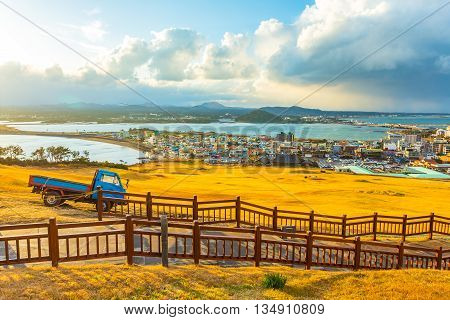 View From Seongsan Ilchulbong Moutain In Jeju Island, South Korea