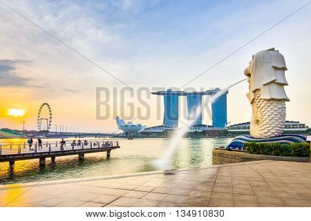 Singapore City Skyline With Landmark In The Morning