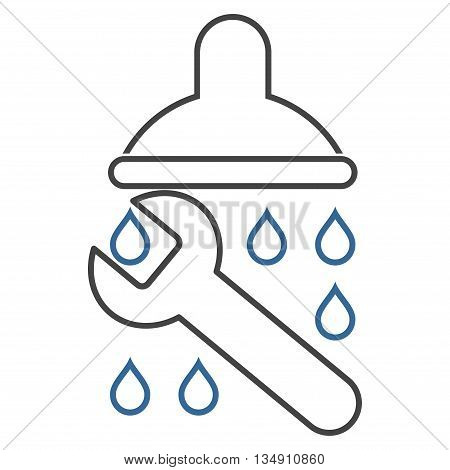Shower Plumbing glyph icon. Style is stroke bicolor flat icon symbol, cobalt and gray colors, white background.
