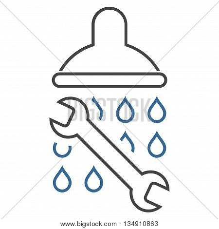 Shower Plumbing glyph icon. Style is linear bicolor flat icon symbol, cobalt and gray colors, white background.