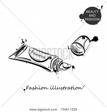 Vector abstract illustration of lip gloss. Beauty and fashion. Beauty saloon. Isolate on white background.
