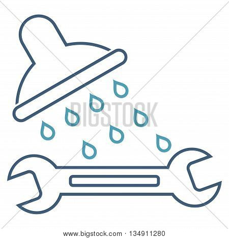 Shower Plumbing glyph icon. Style is stroke bicolor flat icon symbol, cyan and blue colors, white background.