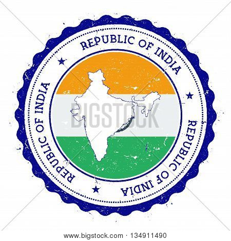 India Map And Flag In Vintage Rubber Stamp Of State Colours. Grungy Travel Stamp With Map And Flag O