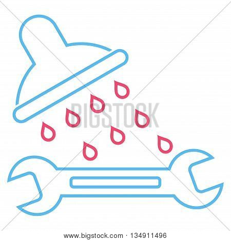 Shower Plumbing glyph icon. Style is outline bicolor flat icon symbol, pink and blue colors, white background.