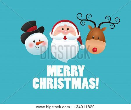 Merry Christmas represented by snowman, santa and deer cartoon over blue and flat background
