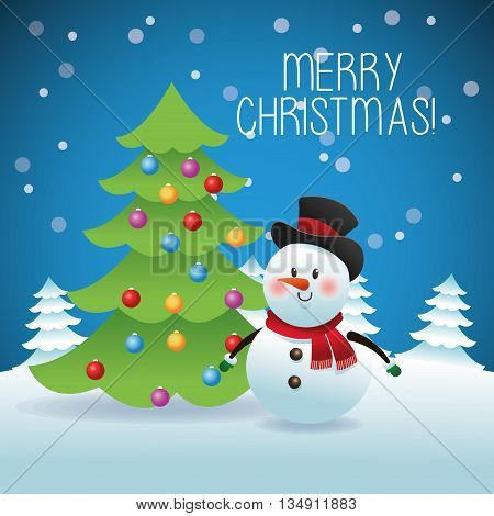 Merry Christmas represented by snowman and pine tree cartoon over blue and flat background