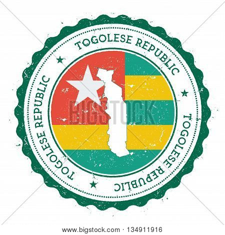 Togo Map And Flag In Vintage Rubber Stamp Of State Colours. Grungy Travel Stamp With Map And Flag Of