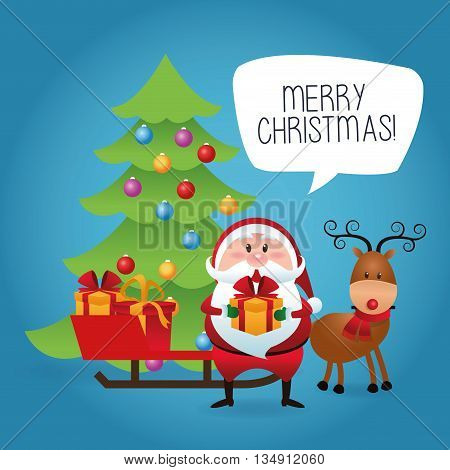 Merry Christmas represented by cartoon of santa and deer over blue and flat background
