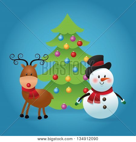 Merry Christmas represented by snowman and deer cartoon over blue and flat background